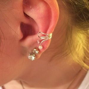 Sterling Silver CZ and Pearl Ear Cuff